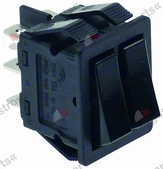 301.080, rocker switch mounting measurements 30x22mm black 1CO/1CO 250V 16A 0-I connection male faston 6.3mm