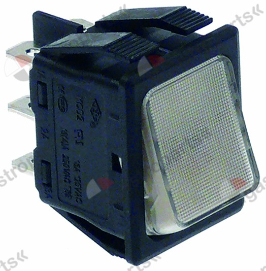 301.081, rocker switch mounting measurements 30x22mm white 2CO 250V 16A illuminated