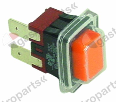 301.099, momentary push switch mounting measurements 19x13mm orange 1NO 250V 16A
