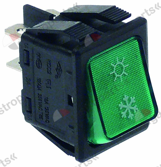 301.132, momentary rocker switch mounting measurements 30x22mm green 2NO 250V 16A