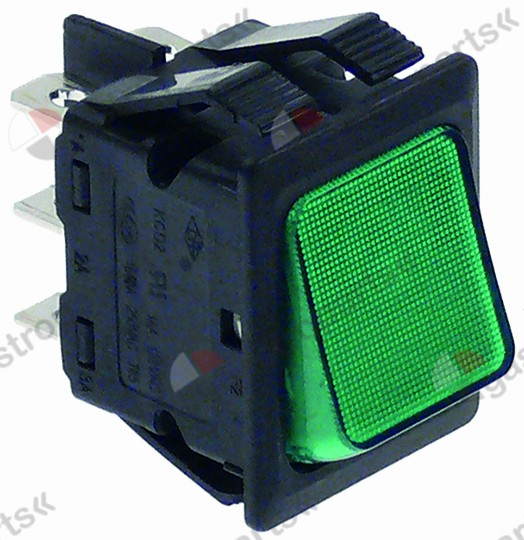 301.137, rocker switch mounting measurements 30x22mm green 2CO 400V 10A illuminated
