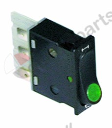 301.139, rocker switch mounting measurements 34.2x12.6mm green 2CO 250V 16A illuminated