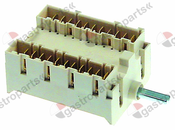 301.215, cam switch 4 operating positions shaft o 6x4.6mm connection male faston 11-pole
