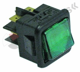 345.003, rocker switch mounting measurements 27.8x25mm green 2NO 250V 16A illuminated