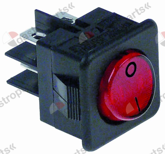 345.013, rocker switch mounting measurements 27.8x25mm red 2NO 250V 16A illuminated 0-I