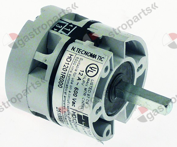 345.016, rotary switch 2 0-1 sets of contacts 1 type HD1201R000 600V 12A shaft ø 5x5mm