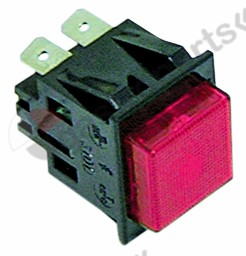 345.033, push switch mounting measurements 27.2x22.2mm red 2NO 250V 16A illuminated