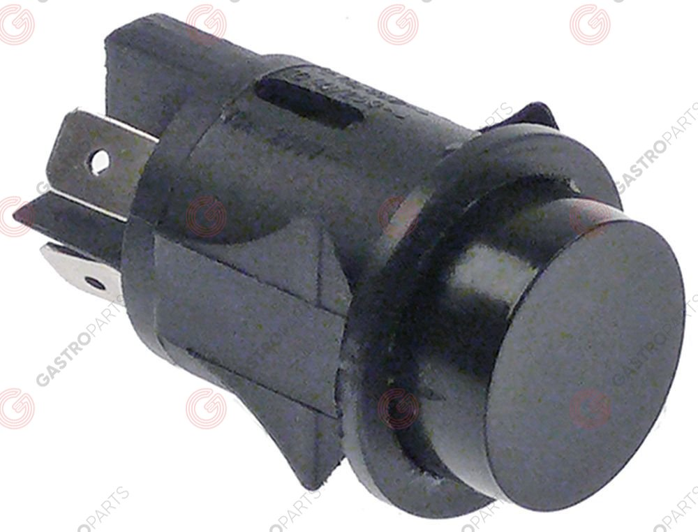 345.038, momentary push switch mounting ø 25mm black 2NO 250V 16A connection male faston 6.3mm