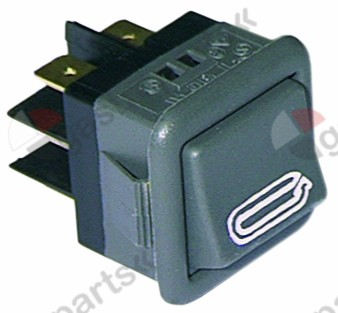 345.076, momentary rocker switch mounting measurements 27.8x25mm black 2CO 250V 16A