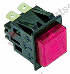 345.090, momentary push switch mounting measurements 27.2x22.2mm red 2NO 250V 16A