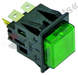 345.100, momentary push switch mounting measurements 27.2x22.2mm green