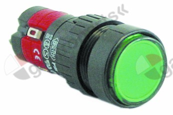 345.128, momentary push switch mounting ø 16mm green 2CO 250V 5A illuminated