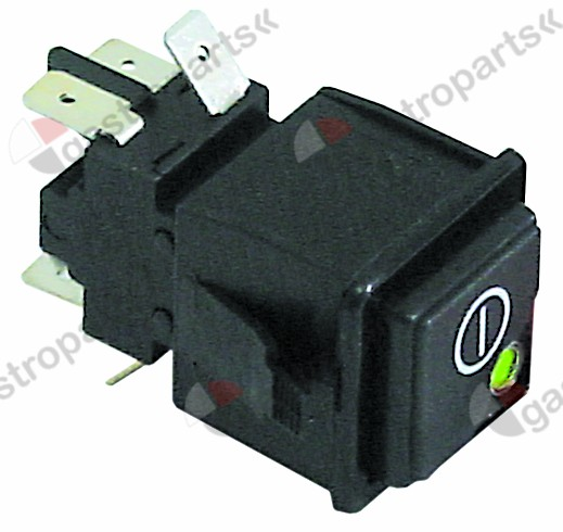 345.143, push switch mounting measurements 28.5x28.5mm green/red 2CO 250V 16A main switch