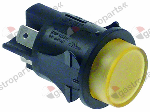 345.162, push switch mounting ø 25mm yellow 2NO 250V 16A illuminated connection male faston 6.3mm
