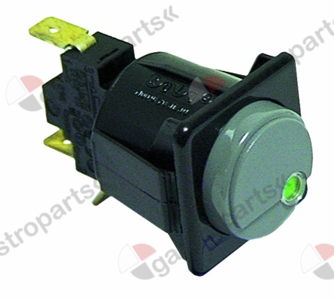 345.227, push switch mounting measurements 28.5x28.5mm red/green 1CO 250V 16A