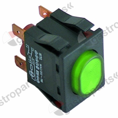 345.235, push switch mounting measurements 30x22mm green 2NO 250V 16A illuminated