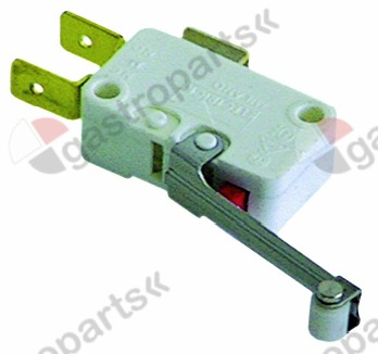 345.251, microswitch with handle with a switch 250V 16A 1CO connection male faston 6.3mm L 29mm L1 42mm