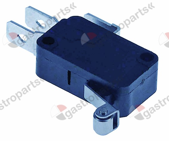 345.252, microswitch with handle with a switch 250V 16A 1CO connection male faston 6.3mm L 23mm L1 19mm