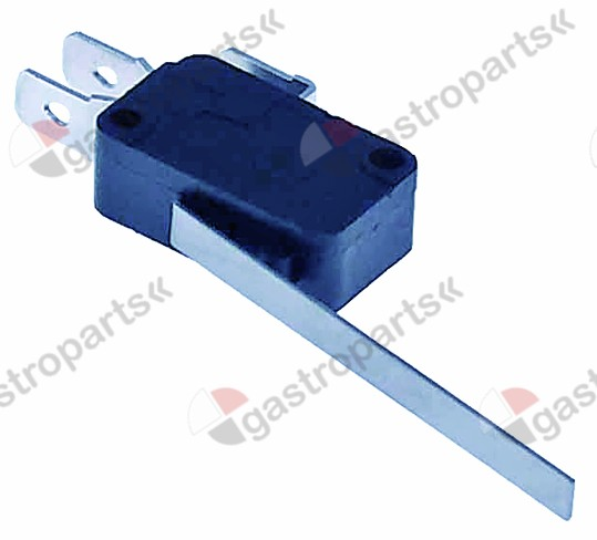 345.254, microswitch with lever 250V 16A 1CO connection male faston 6.3mm L 29mm L1 67mm