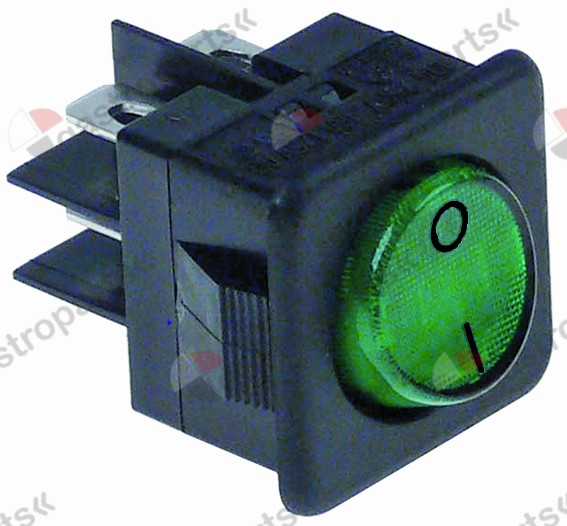 345.278, rocker switch mounting measurements 27.8x25mm green 2NO 250V 16A illuminated 0-I