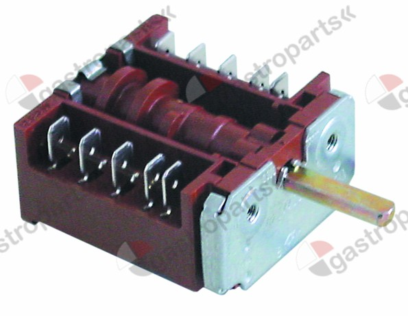345.320, operation switch 4 operating positions 4NO sequence 0-1-2-3 16A shaft ø 6x4.6mm shaft L 23mm