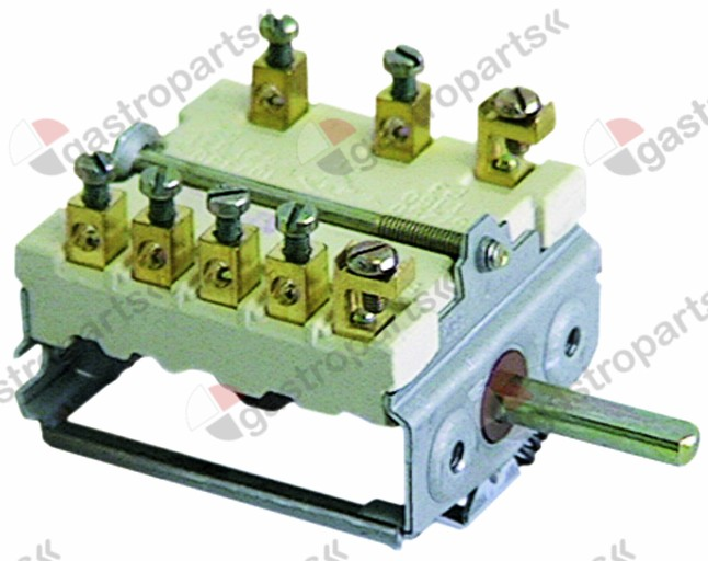 345.322, operation switch 4 operating positions 2NO/1CO sequence 0-1-2-3 16A shaft ø 6x4.6mm shaft L 23mm