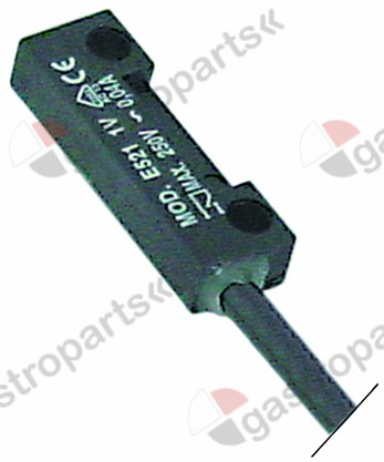 345.358, magnetic switch L 40mm W 13mm 1NO 250V 0,04A P max. 10W connection cable cable length 900mm