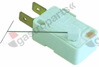 345.367, microswitch with lever 250V 6A 1CO connection male faston 6.3mm L 113mm