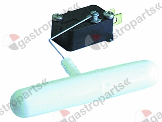 345.372, float switch 1CO ø 15mm L 104mm 250V 6A male faston 6.3mm