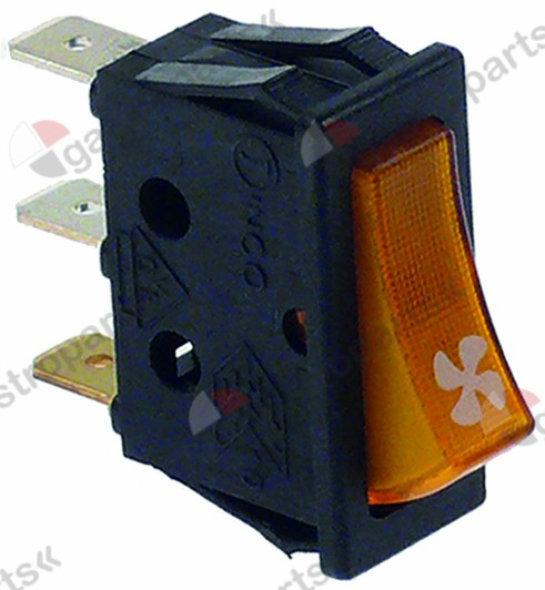 345.383, rocker switch mounting measurements 30x11mm yellow 1NO/indicator light 250V 16A fan