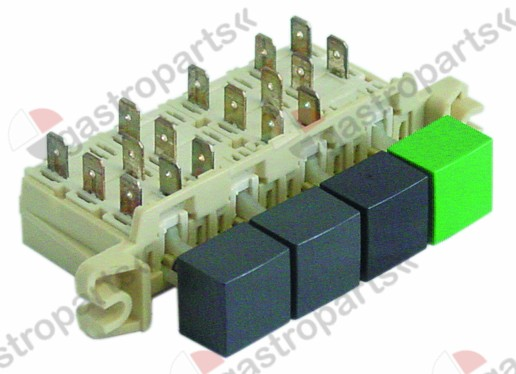 345.413, push switch 3grey/green 250V 16A connection male faston 6.3mm