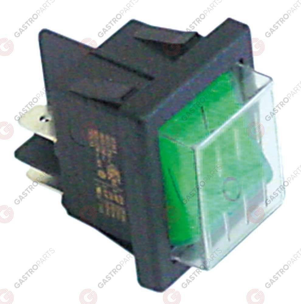 345.419, Rocker switch 30x22mm green 2NO 250V 16A lighted 0-I connection male faston 6,3mm