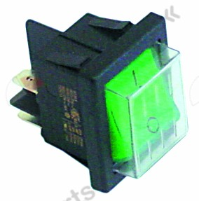 345.419, Replaced by 301003 / 301036 / rocker switch mounting measurements 30x22mm green2NO 250V 16A illuminated 0-I