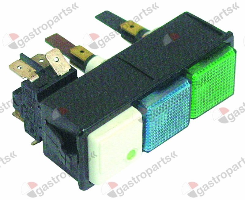 345.434, switch combination latching mounting measurements 28.5x77.5mm green/white/blue