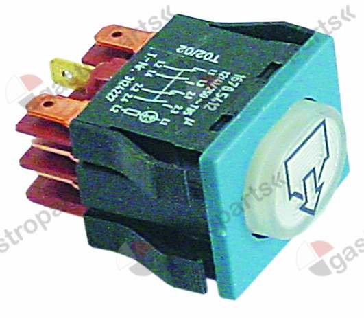 345.442, push switch mounting measurements 30x22mm white 2NO/2NC/indicator light 250V 16A illuminated