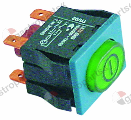 345.443, push switch mounting measurements 30x22mm green 2NO 250V 16A illuminated ON-OFF