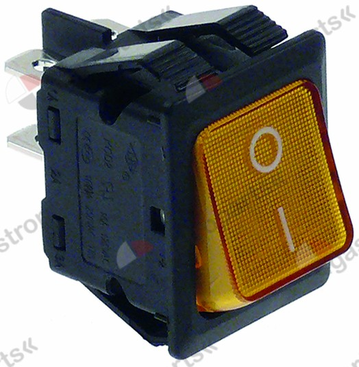 345.512, rocker switch mounting measurements 30x22mm orange 2NO 250V 16A illuminated 0-I