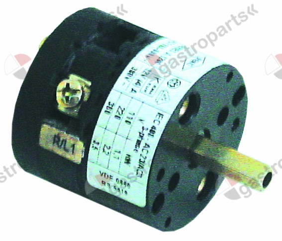345.547, rotary switch 2 0-1 sets of contacts 1 type CA0120001 380V 12A shaft ø 5x5mm shaft L 23mm
