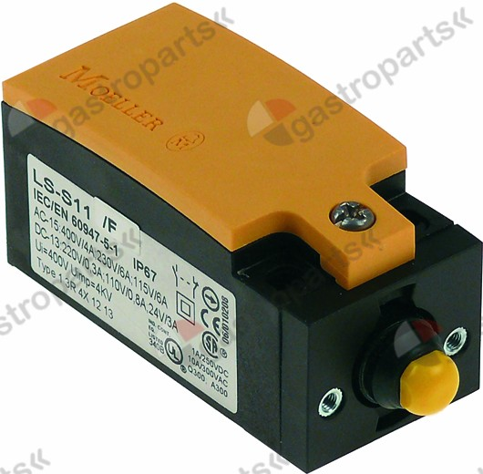 345.549, Replaced by 346987 / position switch plastic 2NO 230V 3A L 75mm W 31mmH 33mm protection IP66 actuating force: 700g