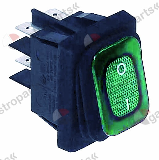 345.645, Replaced by 347791 / rocker switch mounting measurements 30x22mm green2NO 230V 16A illuminated 0-I