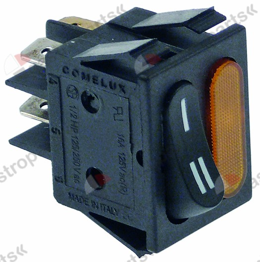 345.646, rocker switch mounting measurements 30x22mm black/orange 1NO/indicator light 250V 16A I-II
