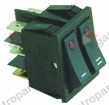345.647, Replaced by 347412 / rocker switch mounting measurements 30x22mmred/red 1NO/NO 250V 16A illuminated I/II