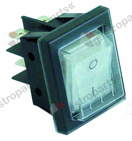 345.648, rocker switch mounting measurements 30x22mm white 2NO 250V 16A illuminated 0-I
