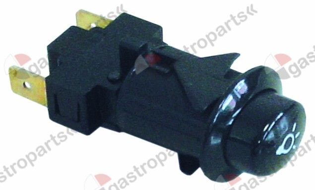 345.663, push switch 20,6x16,4mm black 1NO 250V 16A lamp