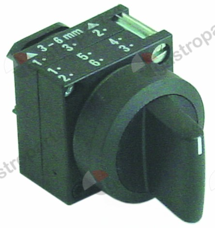 345.673, rotary selector o 22mm black latching