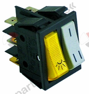 345.713, rocker switch mounting measurements 30x22mm white/yellow 1NO/NO 250V 16A illuminated