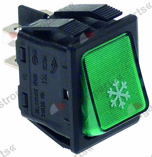 345.714, rocker switch mounting measurements 30x22mm green 2NO 250V 16A illuminated refrigeration