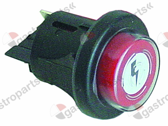 345.743, Replaced by 346318 / momentary push switch mounting ø 25mm red 1NO 250V16A with cover cap ignition