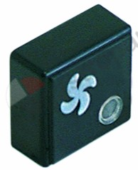 345.745, push button size 23x23mm black ventilation with lens