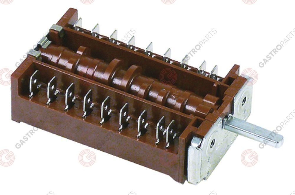 345.765, operation switch 4 operating positions 8NO sequence 0-1-2-3 16A shaft ø 6x4.6mm shaft L 23mm